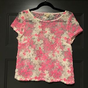 Anthropologie Hot Pink Floral Mesh Top Small